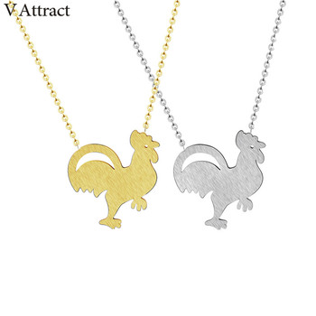 V Attract 10pcs Stainless Steel Cock Rooster Chicken Necklace Pendants For Women Fashion Vintage Animal Jewelry Choker